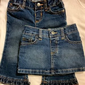 12-18 Month Old girl's ruffle jeans and jean skort